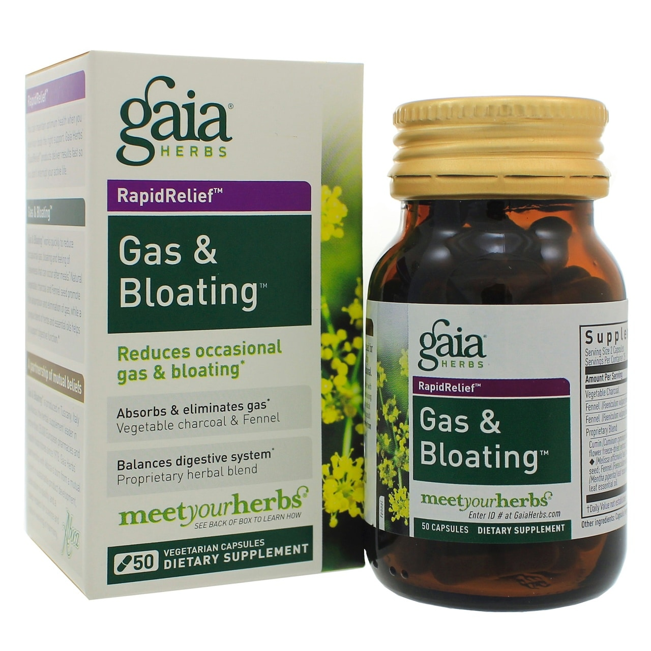 Gas & Bloating Rapid Relief Capsule, Gaia Herbs | Pure On Main